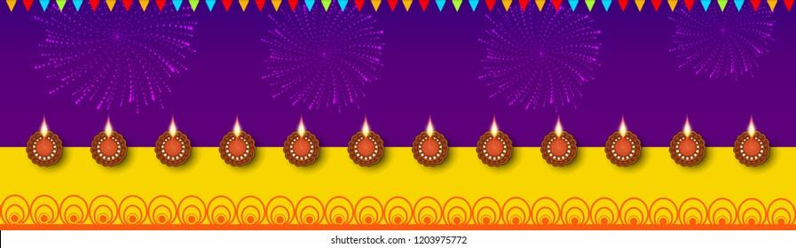 Vector illustration of Illuminated / burning oil line art decorated floral diya on Diwali Holiday, ancient Hindu festival of lights, Original calligraphic inscription of Happy Deepavali  stylish text.