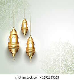 Vector illustration of illuminated lanterns with Beautiful floral decorated background.