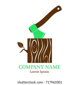 Vector illustration with an image of an ax with a stump. Stump with an ax, isolated on a white background. Wooden woodworking axle or woodcutter logo or badge. Logo. A flat icon.
