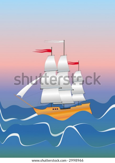 Vector illustration with the image of the classical sailing ship during a storm. For the editor there is an opportunity to receive the isolated full picture of a vessel.