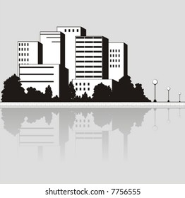 Vector illustration with the image of coast with skyscrapers