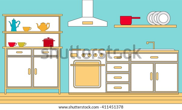 Vector Illustration Image Flat Kitchen Cabinet Stock Vector