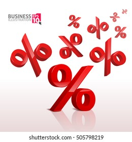 Vector illustration with the image of a flying red marks percent. Business illustration on the topic of discounts. Seasonal sales.