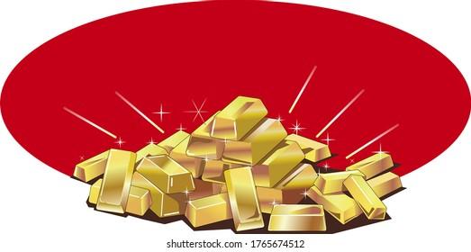 Vector illustration image of gold bullion