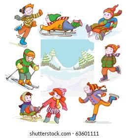 vector illustration, image of happy children sleighing, cartoon concept.
