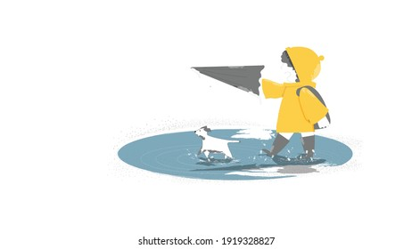 Vector illustration image of happy kid with dog and an umbrella and rubber boots in puddle on an autumn walk.