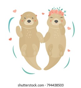 Vector illustration. Image with a lovely otters, boy and girl in floral wreath