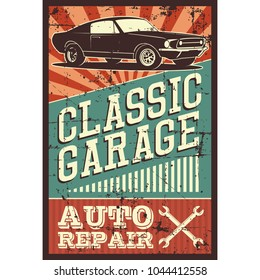 Vector illustration with the image of an old classic car, design logo, posters, banners, signage. Using vintage and grunge style. Retro illustration on the theme of service stations, tire service.