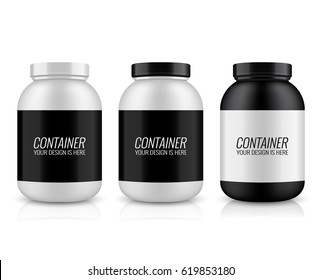 Vector illustration with the image of packing. Package design. Mock up image. Sport Nutrition Containers. Plastic Jars and foil package and drink bottle.