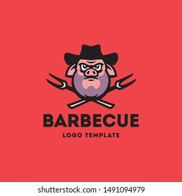 Vector illustration with the image of a pig in a cowboy hat on a background of crossed barbecue forks. Logo template.
