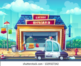 Vector illustration image police car Pin-up style. For web, video games, user interface, design. For web, video games, user interface, design