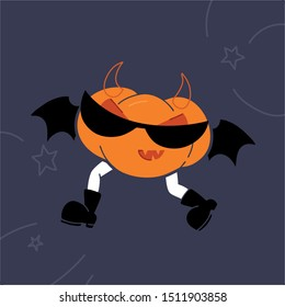 Vector illustration, image of a running pumpkin with legs in glasses with bat wings. For a poster or postcard. Rock halloween celebration.