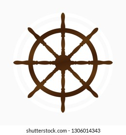 Vector illustration with the image of a ship's steering wheel on a white background