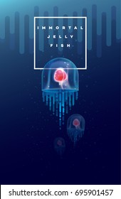 Vector illustration of the Immortal jellyfish swimming under the ocean surface
