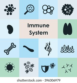 vector illustration / immune system icons set