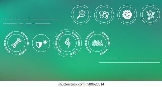 vector illustration of immune system icons for health and medical concepts on abstract blurry background