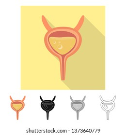 Vector illustration of incontinence and bladder sign. Set of incontinence and urine  stock symbol for web.