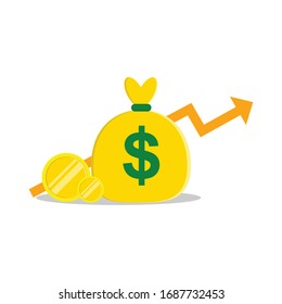 vector illustration of increasing vector design income, profit is increasing