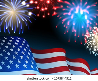 Vector illustration - Independence day background with fireworks and USA flag