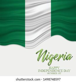 Vector illustration of Independence day in Nigeria Celebration on October 1st.