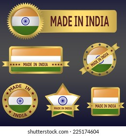 Vector illustration of India asian country flag and badges set