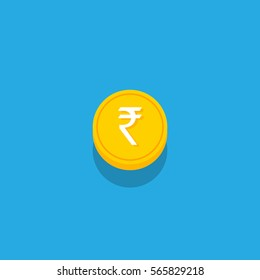 Vector illustration of India currency coins with shadow concept. Indian money. isolated