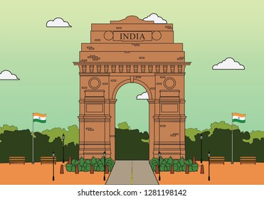Vector illustration of India gate situated in delhi with flags around it.