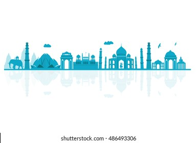 Vector illustration. India skyline detailed silhouette.
