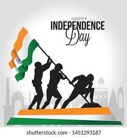 vector illustration of Indian army with flag for Happy Independence Day of India
