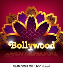 Vector illustration of indian bollywood cinema golden banner with floral mandala decoration on red background