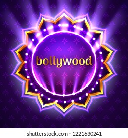 Vector illustration of Indian bollywood cinema sign board, neon illuminated banner with golden logo isolated on violet floral background