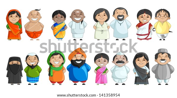 0360407ca4 vector illustration of Indian couple of different culture standing together