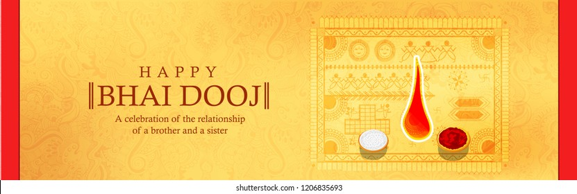 vector illustration of Indian family celebrating Bhai Dooj with creative tali during Happy Diwali festival background