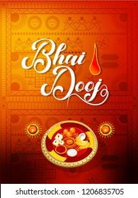 vector illustration of Indian family celebrating Bhai Dooj with creative tali during Happy Diwali festival background