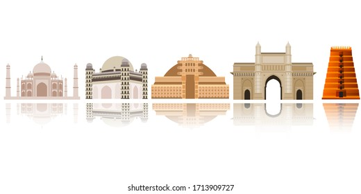 vector illustration for Indian famous historical buildings set