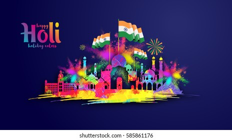 vector illustration. Indian festival of colors festival holi. graphic design for the design of posters, brochures, gift cards, sales. vector isolated colorful cloud colors