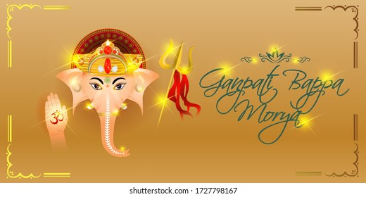 VECTOR ILLUSTRATION FOR INDIAN FESTIVAL GANPATI BAPPA MORYA MEANS GANPATI BAPPA MORYA, ILLSUTRATION IS SHOWING LORD GANESHA  GLORY FACE ON GOLDEN BACKGROUND