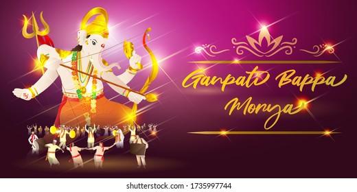 vector illustration for Indian festival Ganpati bappa morya means Ganpati bappa morya, devotees are celebrating the festival in front of lord Ganesha sculpture on beautiful colorful shinny night