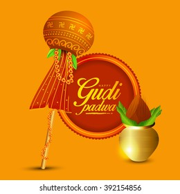 Vector Illustration of  Indian Festival of Gudi Padwa  ( Lunar New Year) celebrated by Maharashtrians.