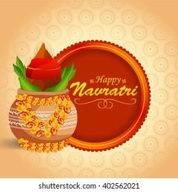 Vector illustration of indian festival navratri celebration kalash sthapana.