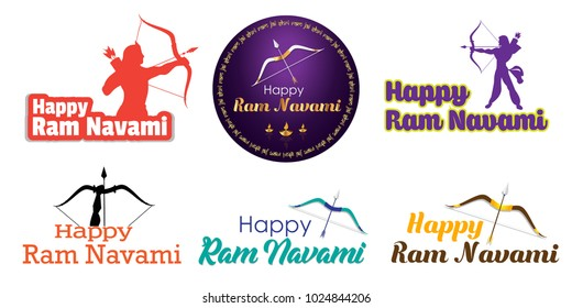 Vector illustration of indian festival Ram Navami with bow and arrow on festive background. Translation: Happy Birthday to Lord Ram. Can be used for patterns, greetings, posters, banners and elements.