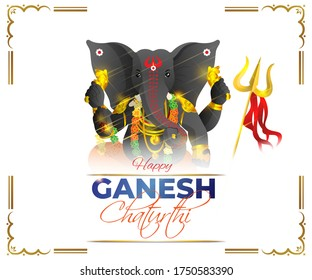 VECTOR ILLUSTRATION FOR INDIAN  FESTIVAL WITH TEXT HAPPY  GANESHA CHATURTHI MEANS