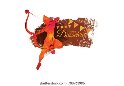 vector illustration. Indian holiday happy dussehra. translation from Marathi: Vijayadashami. design elements for decoration of posters, cards, flyers, covers and sales. Rama's victory over the demonic
