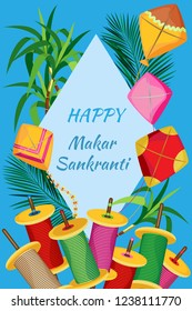 Vector illustration for the Indian holiday Makar Sakranti with kites, coils of colored twine and cane. Light blue rhombus with the inscription. And all this on a blue background.