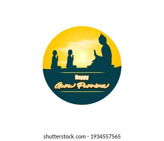 vector illustration for Indian holy Day with text Guru Purnima means Guru Purnima