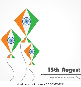 Vector Illustration of Indian Independence Day concept background with Ashoka wheel