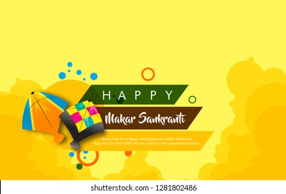 vector illustration of indian kite festival makar sankranti with colorful kites and clowd with beautiful calligraphy.