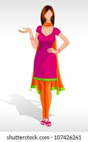 vector illustration of indian lady posing in salwar suit