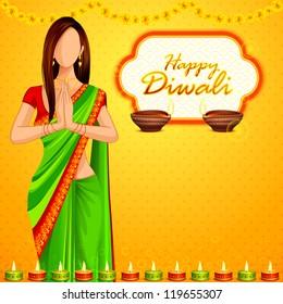 vector illustration of Indian lady wishing Happy Diwali