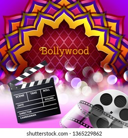 Vector illustration of Indian logo sign Bollywood in colored mandala ornament with glowing element and realistic  equipment for cinema stage: movie clapper slapstick and film strip